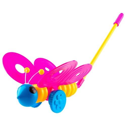 Каталка-игрушка Пластмастер Бабочка (12001) розовый/желтый развивающая игрушка benho 12001