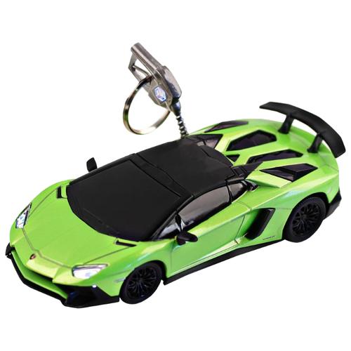 Купить Легковой автомобиль Автопанорама Lamborghini Aventador LP750 SuperVeloce Roadster (J30105/JB1200172) 1:32 11.8 см зеленый/черный, Машинки и техника