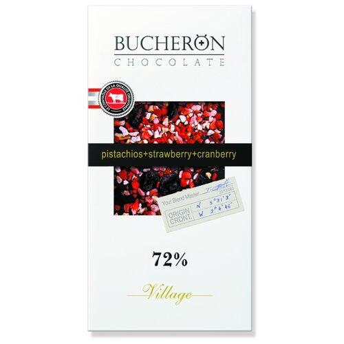 шоколад bucheron village горький с миндалем 100 г Шоколад Bucheron Village горький с клюквой, клубникой и фисташками, 100 г