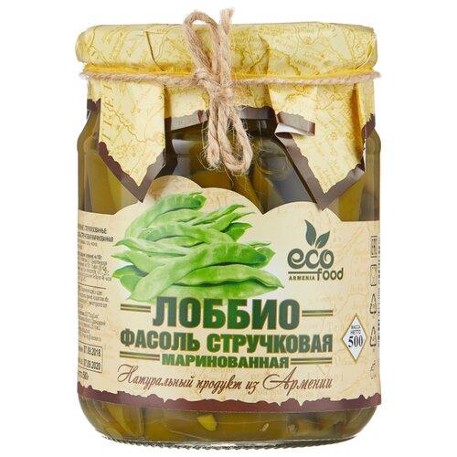 Фасоль Ecofood Armenia Лоббио стручковая маринованная, стеклянная банка 500 г