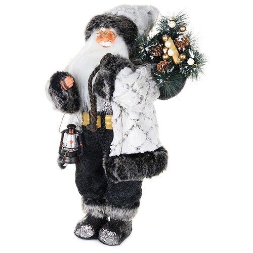 Фигурка Maxitoys Дед Мороз в белой шубе с фонариком, 61 см белый/черный