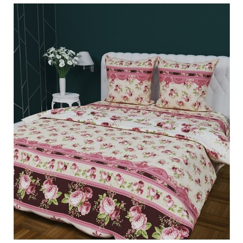 Постельное белье 2-спальное с евро простыней Текстильная лавка Роскошь бязь, 70 х 70 см бежевый