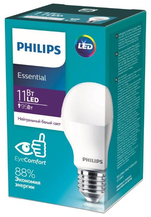 Лампа светодиодная Philips ESSENTIAL LEDBulb A60 11-95W E27 4000K 220V 1250lm белый свет (871869961620500)