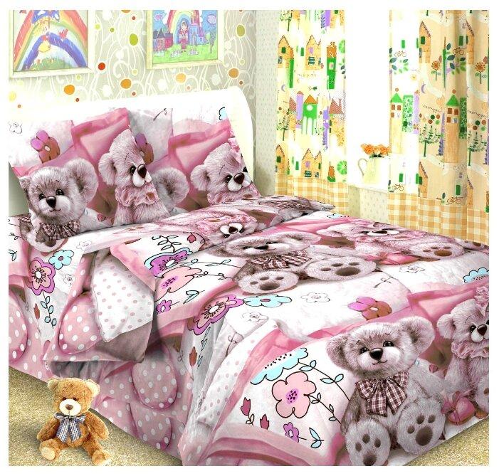 Купить Постельное белье 1.5-спальное Letto Тэдди, перкаль, 50 х 70 см розовый по низкой цене с доставкой из Яндекс.Маркета (бывший Беру)