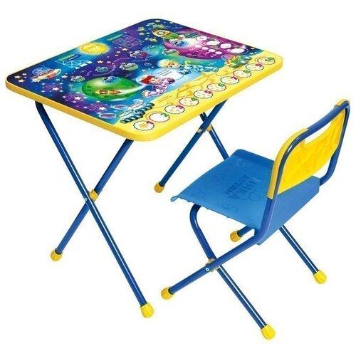 Купить Комплект Nika стол + стул Математика в космосе (КП/8) 60x45 см синий/желтый, Парты и столы