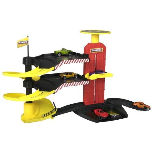 Купить HTI Многоуровневая парковка-трек с 5-ю машинками 1416688 красный/желтый/черный, Детские парковки и гаражи