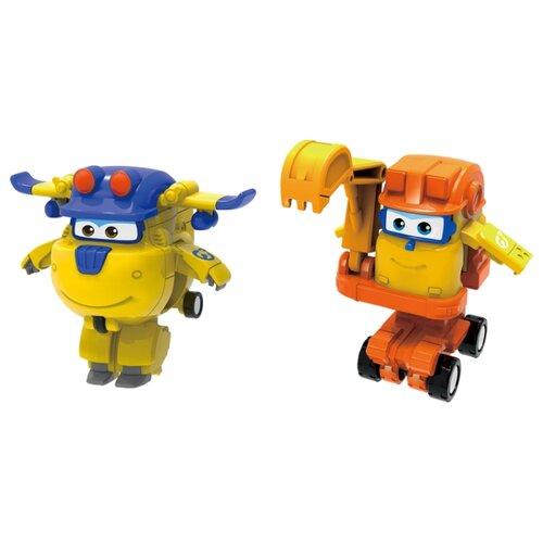 Трансформер Auldey Super Wings 2 в 1 Донни и Скуп (команда Строителей) оранжевый/желтый