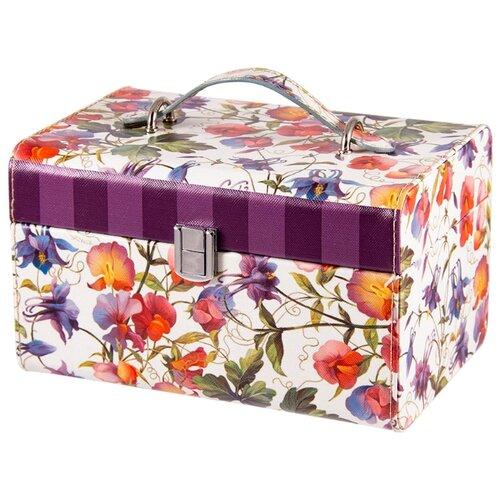 Русские подарки Шкатулка для ювелирных украшений 84327 белый/цветыШкатулки<br>