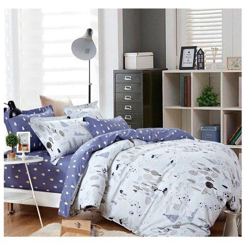 Постельное белье 2-спальное Sulyan Сибирь сатин синий / серыйКомплекты<br>