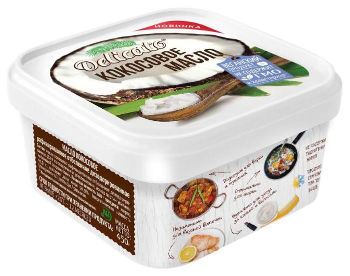 Масло кокосовое Delicato для жарки, тушения, выпечки, 450 г