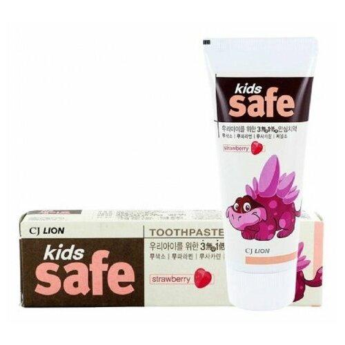 Купить Зубная паста CJ Lion Kids Safe клубника 3-12 лет, 90 г, Гигиена полости рта