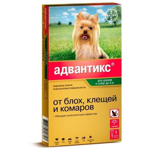 Адвантикс (Bayer) капли от блох и клещей инсектоакарицидные для собак и щенков менее 4 кг адвантикс капли адвантикс от блох клещей и комаров для щенков и собак весом от 1 5 до 4 кг 4 пипетки