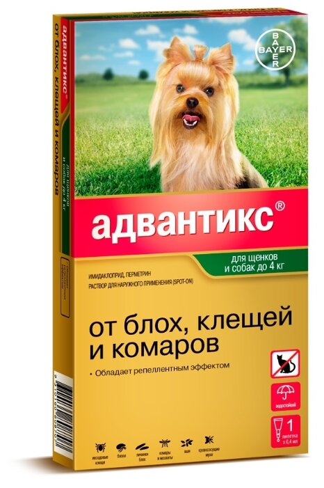 Средства от блох Bayer GL Адвантикс 40С Капли на холку для щенков и собак до 4 кг, 1 пипетка