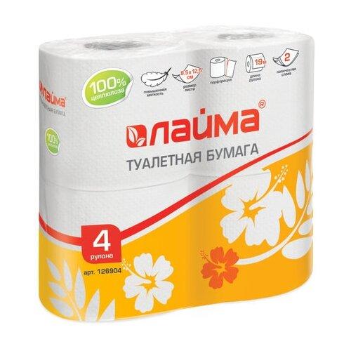 Туалетная бумага Лайма белая двухслойная 4 рул. фото