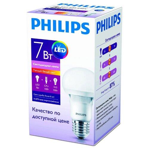 Лампа светодиодная Philips E27, A60, 7ВтЛампочки<br>