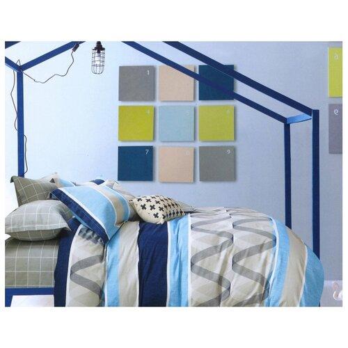 Постельное белье 2-спальное Sulyan Тайлер сатин, 70 х 70 см голубой/бежевый