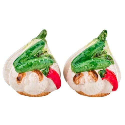 ELFF ceramics Набор солонка и перечница Бабушкины соленья белый/красный/зеленыйСолонки, перечницы и емкости для специй<br>