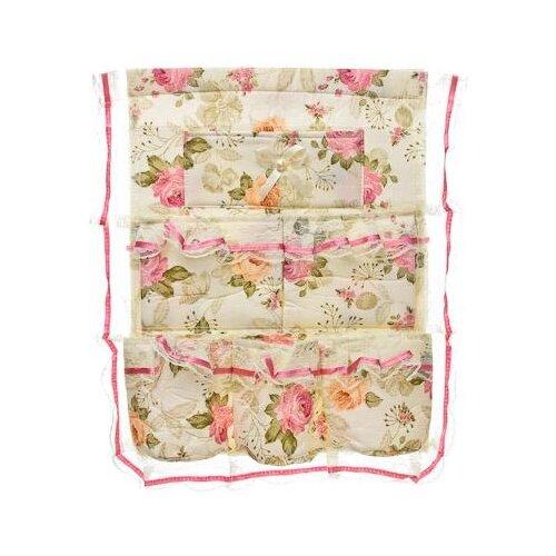 Vetta Кофр подвесной настенный 6 карманов Цветочная поляна 34х44см белый/розовыйОрганайзеры и кофры<br>