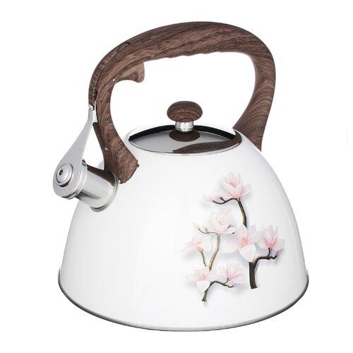 Vetta Чайник со свистком Сакура 847083 3 л, белый с принтом кастрюля vetta повар 3 6 л белый красный