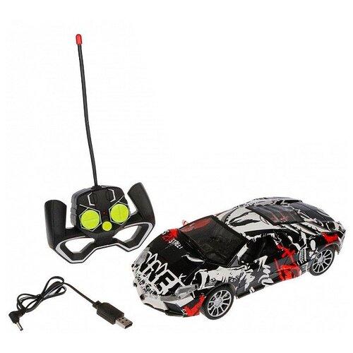Купить Гоночная машина Наша игрушка 729A-1 1:16 26 см черный/белый/красный, Радиоуправляемые игрушки