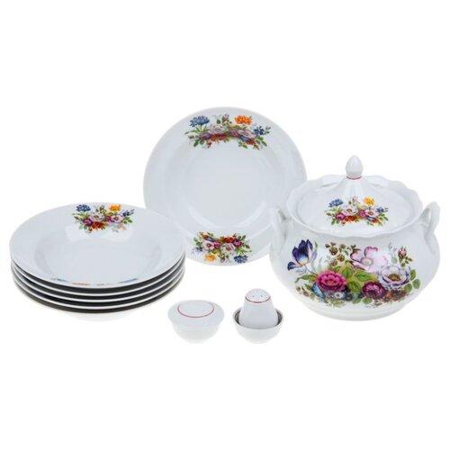 Столовый сервиз Добрушский фарфоровый завод Набор для супа Букет цветов 10 предметов