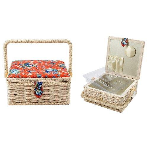 Шкатулка Русские подарки для рукоделия Сундучок 22х22х10 см бежево-красный шкатулка для рукоделия сундучок 25 18 11см уп 1 16шт