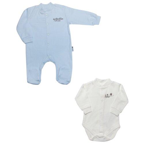 Комплект одежды Клякса размер 62, голубой/белыйКомплекты<br>