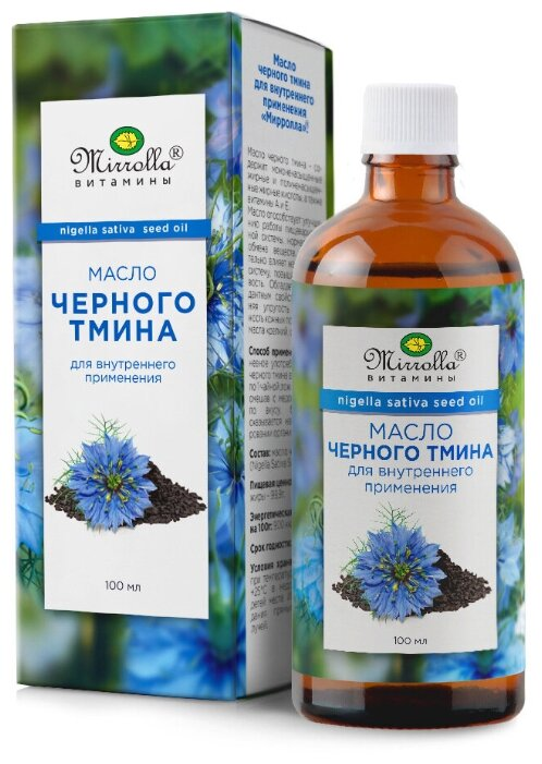 Биологически активная добавка Мирролла Масло черного тмина для внутреннего применения 100 мл