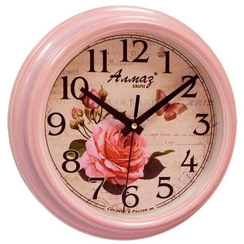 Часы настенные кварцевые Алмаз C25 розовый/бежевый часы настенные кварцевые алмаз c25 розовый бежевый