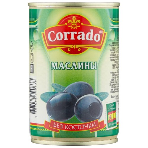 Corrado Маслины без косточки в рассоле, жестяная банка 300 г corrado маслины крупные отборные без косточки 300 г