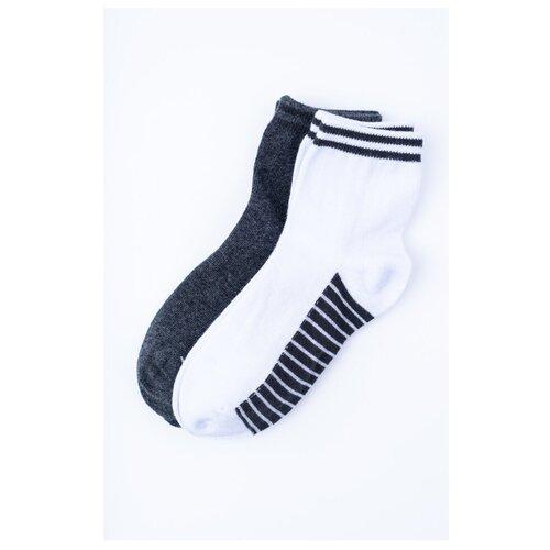 Фото - Носки playToday комплект 2 пары размер 16, белый/темно-серый/красный носки мужские стильная шерсть цвет темно серый белый 618 1с47 125 размер 29