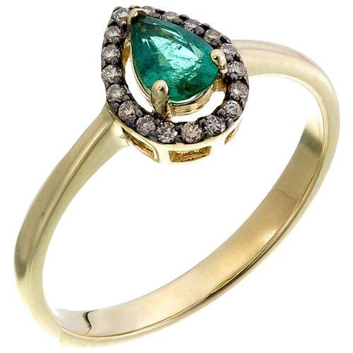Фото - Sargon Jewelry Кольцо Капля с изумрудом и бриллиантами из жёлтого золота RS1372-2024, размер 16 sargon jewelry кольцо с изумрудом и бриллиантами из жёлтого золота r1312 2010 размер 16 5