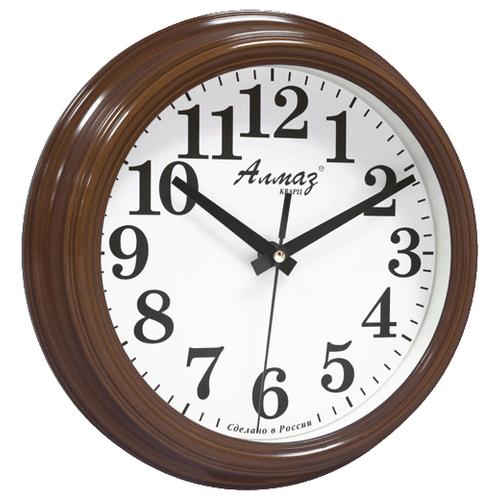 Часы настенные кварцевые Алмаз C56 коричневый/белый часы настенные кварцевые алмаз a58 коричневый белый