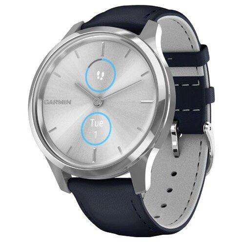 Умные часы Garmin Vivomove Luxe с кожаным ремешком, темно-синий/серебристый умные часы garmin vivomove luxe с кожаным ремешком черный золотистый