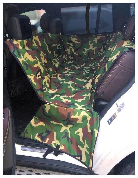 Автогамак для собак Melenni Эконом большой 60х145х62 см зеленый камуфляж/черный