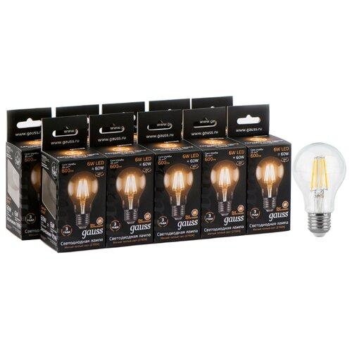 Упаковка светодиодных ламп 10 шт gauss 102802106, E27, A60, 6Вт упаковка светодиодных ламп 10 шт gauss 102502210 e27 a60 10вт