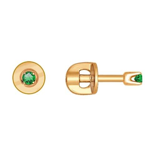 SOKOLOV Серьги-пусеты из золота с зелеными фианитами 021944