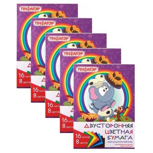 Купить Цветная бумага А4 2-сторонняя газетная, 16 листов 8 цветов, на скобе, ПИФАГОР, 200х280 мм, Праздник , 129560 (5 штук) 129560-5, Пифагор, Цветная бумага и картон