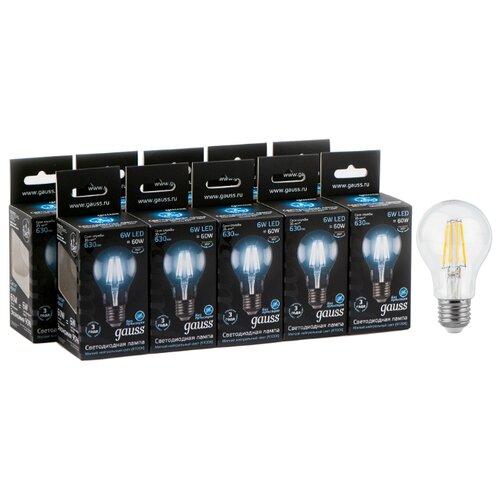 Упаковка светодиодных ламп 10 шт gauss 102802206, E27, A60, 6Вт упаковка светодиодных ламп 10 шт gauss 102502210 e27 a60 10вт