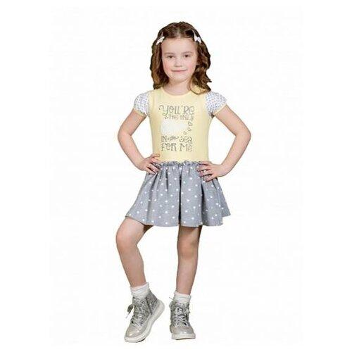 Платье M-Bimbo размер 128, желтый/серый меланж m bimbo костюм зимний 350 220гр сирень