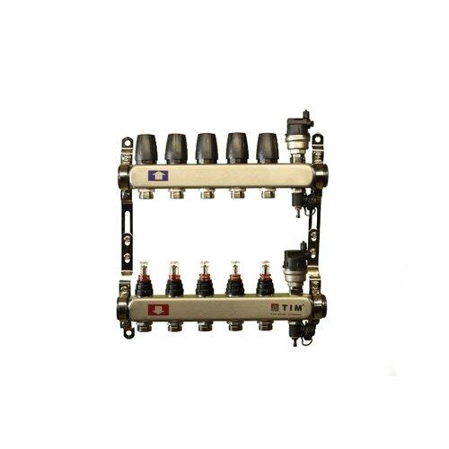 Коллекторная группа Tim (KCS5005) 1 ВР-ВР, 5 отводов 3/4, расходомер, воздухоотводчик, сливной кран коллекторная группа royal thermo в сборе с расходомерами 1 вр 3 4 нр 9 выходов нержавеющая сталь rte 52 109