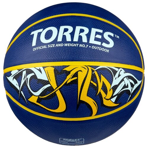 Баскетбольный мяч TORRES Jam, р. 7 синий/желтый/голубой