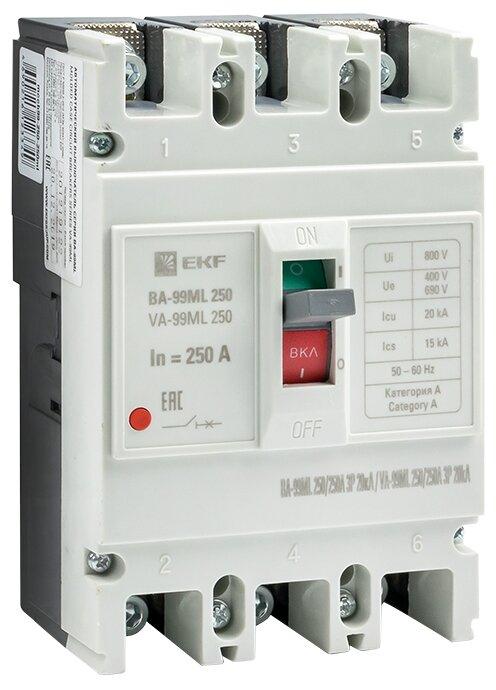 Автоматический выключатель EKF ВА-99МL/250 3P (термомагнитный) 20kA
