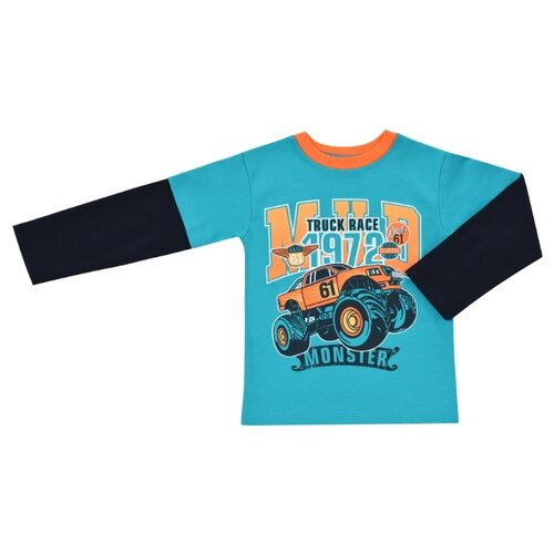 Купить Лонгслив ДО (Детская одежда) размер 116, бирюзовый/оранжевый, Футболки и майки