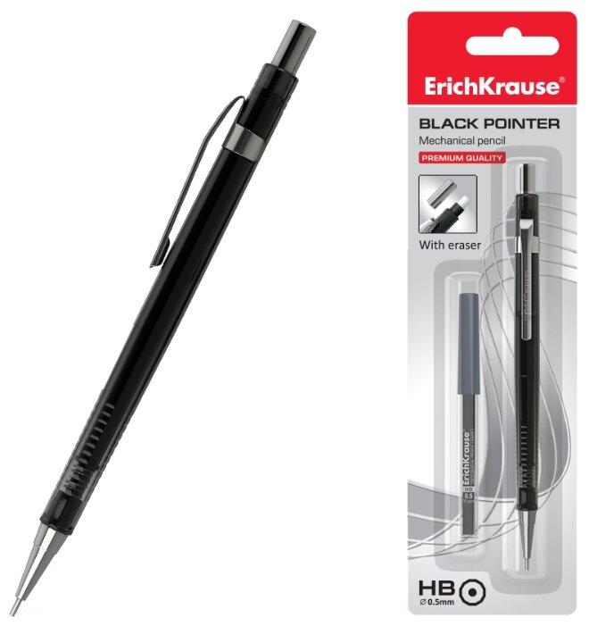 ErichKrause Механический карандаш Black Pointer со сменными грифелями HB, 0.5 мм, 20 шт. (блистер)