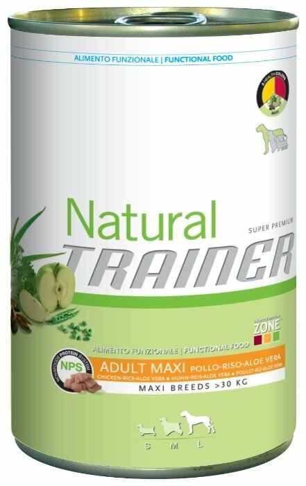 Корм для собак TRAINER Natural Adult Maxi Chicken, Rice and Aloe Vera canned