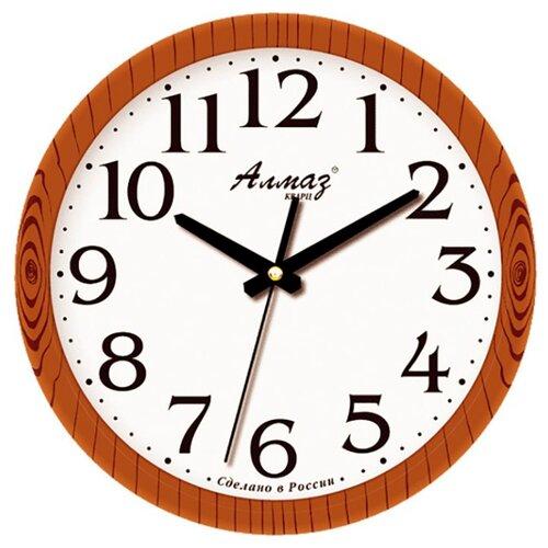 Часы настенные кварцевые Алмаз E35 коричневый/белый часы настенные кварцевые алмаз c51 c54 коричневый белый
