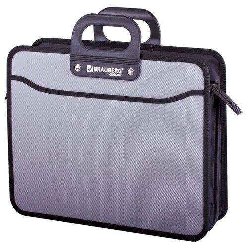 Купить BRAUBERG Портфель пластиковый на молнии Премьер А4, 3 отделения серый, Файлы и папки
