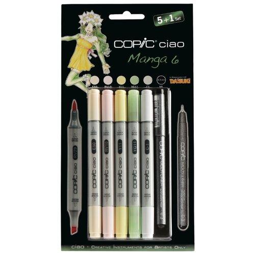 Купить COPIC набор маркеров Ciao Manga 6 (H22075563), 5 шт. + мультилайнер, Фломастеры