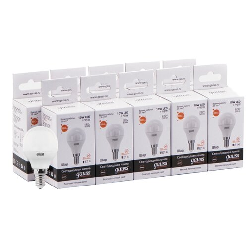 Упаковка светодиодных ламп 10 шт gauss 53110, E14, 10Вт упаковка светодиодных ламп 10 шт gauss 53210 e27 10вт